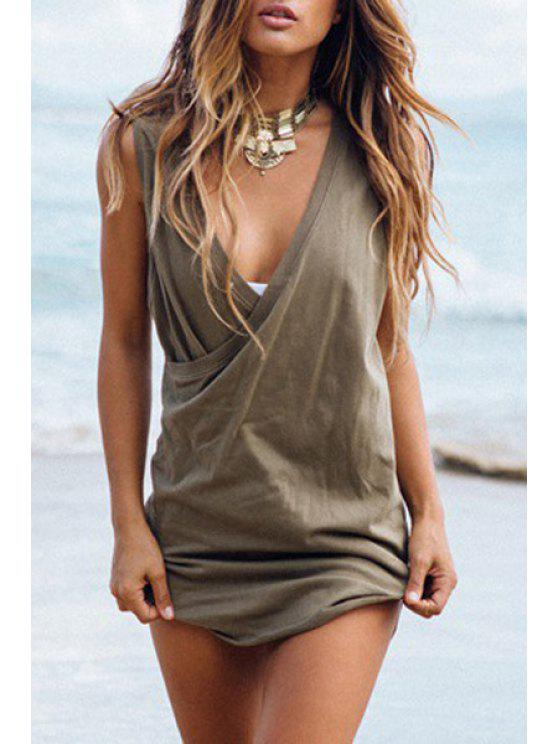 latest Solid Color Plunging Neck Sleeveless Dress - ARMY GREEN S