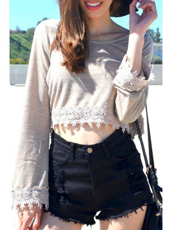 best Long Sleeve Lace Hem Crop Top - GRAY M