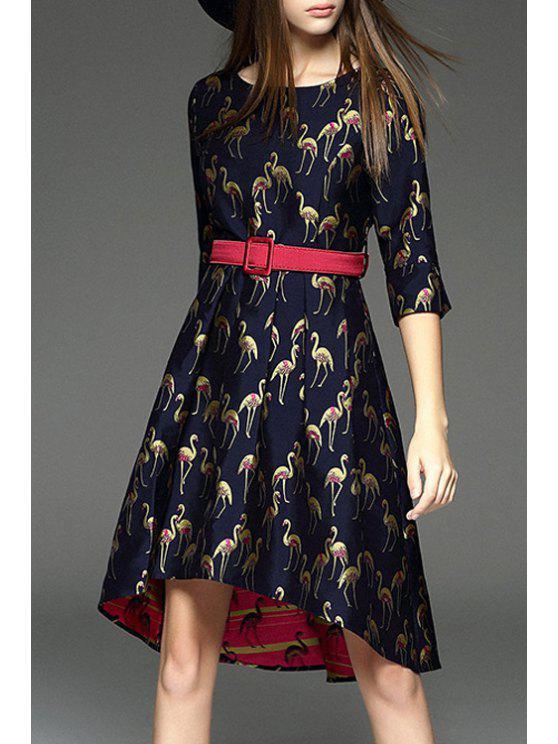 ladies Swan Printed Round Collar Half Sleeves Dress - PURPLISH BLUE S