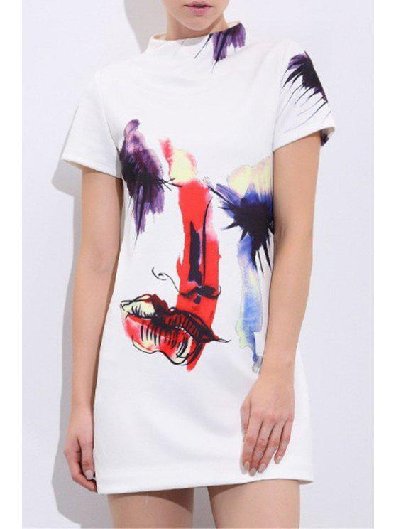 affordable Lip Print Stand Neck Short Sleeve Dress - WHITE S