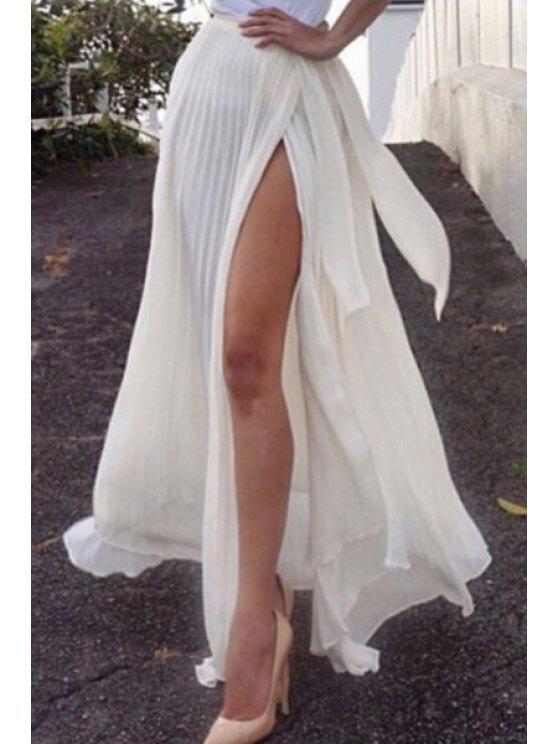 Jupe à fente latérale plissée en couleur solide - Blanc XL