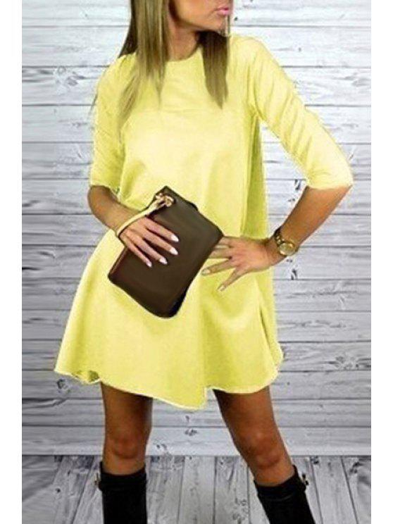 outfit Yellow Round Neck Half Sleeve Dress - YELLOW S