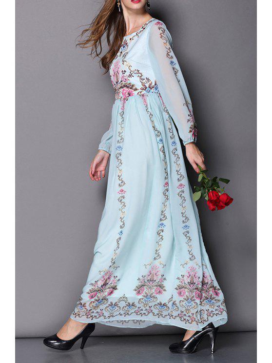 buy Vintage Print Long Sleeve Maxi Dress - LIGHT BLUE S
