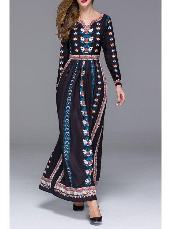 new Tiny Floral V Neck Long Sleeve Maxi Dress - BLACK S