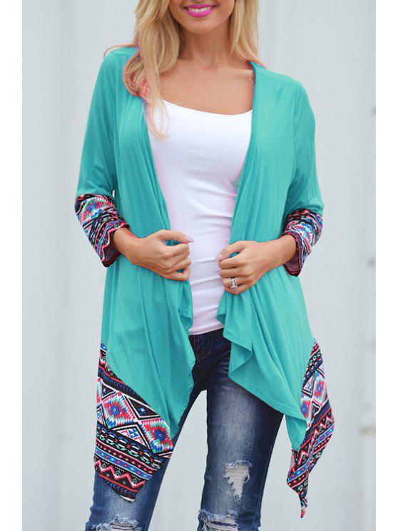 sale Ethnic Print Nine-Minute Sleeve Coat - BLUE S