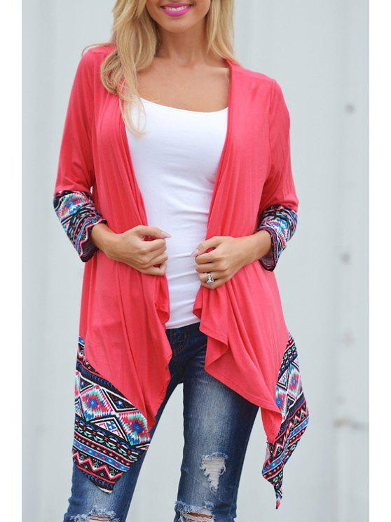 ladies Ethnic Print Nine-Minute Sleeve Coat - RED XL