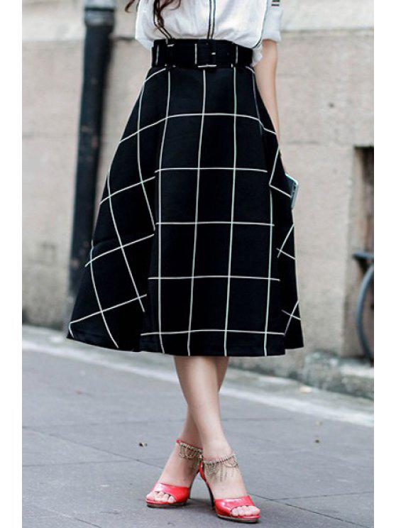 latest Plaid A-Line Midi Skirt - BLACK S