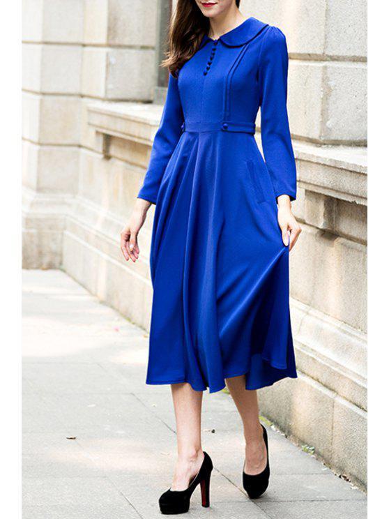 trendy Blue Turn Down Collar Long Sleeve Dress - BLUE S