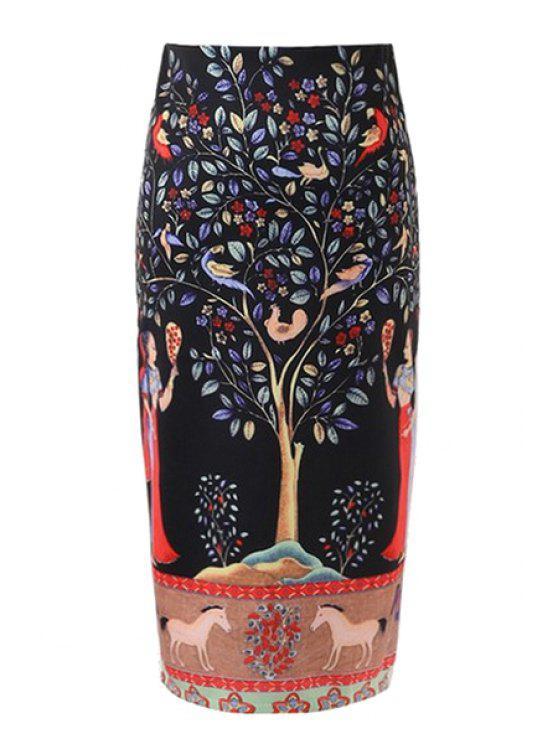 fancy Banyan Print Back Slit Pencil Skirt - BLACK S