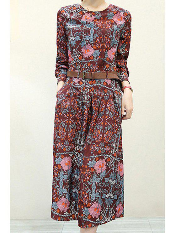 women's Vintage Print Round Neck Long Sleeve Dress - AS THE PICTURE S