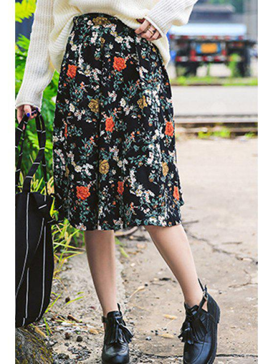 trendy High-Waisted Floral Print Flare Skirt - BLACK ONE SIZE(FIT SIZE XS TO M)