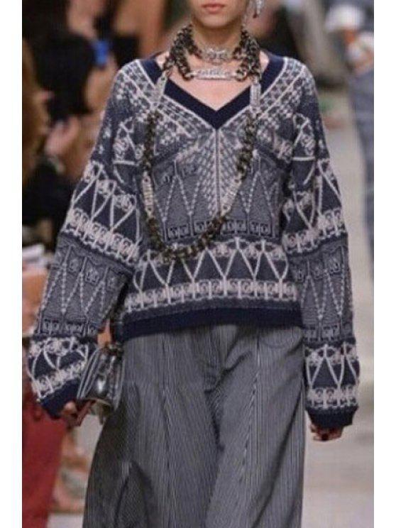 fashion Geometric Pattern V Neck Long Sleeve Jumper - BLUE M