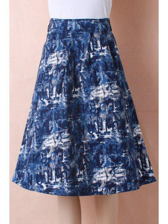 outfits High-Waisted Blue Print Flare Skirt - BLUE ONE SIZE(FIT SIZE XS TO M)
