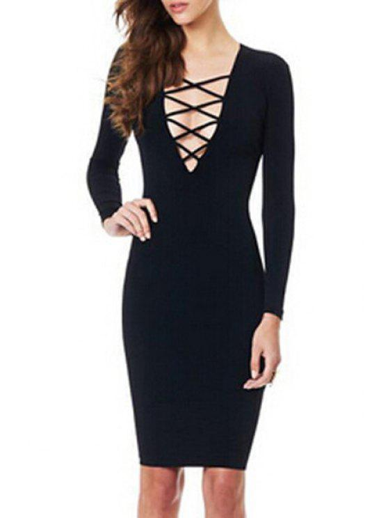 sale Lace-Up Plunging Neck Hollow Out Club Dress - BLACK M