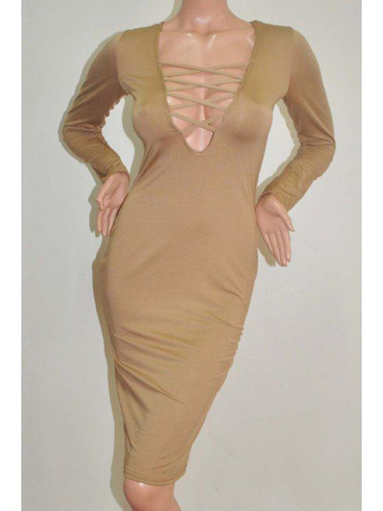 women Lace-Up Plunging Neck Hollow Out Club Dress - COFFEE M