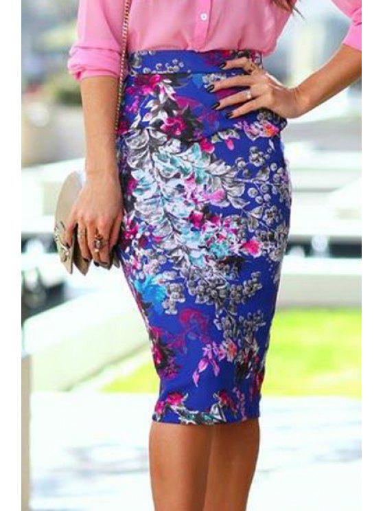 fashion Floral High Waist Bodycon Skirt - BLUE S