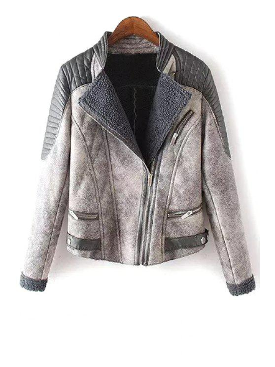 chic Stand Neck Lamb Wool Spliced Jacket - GRAY M