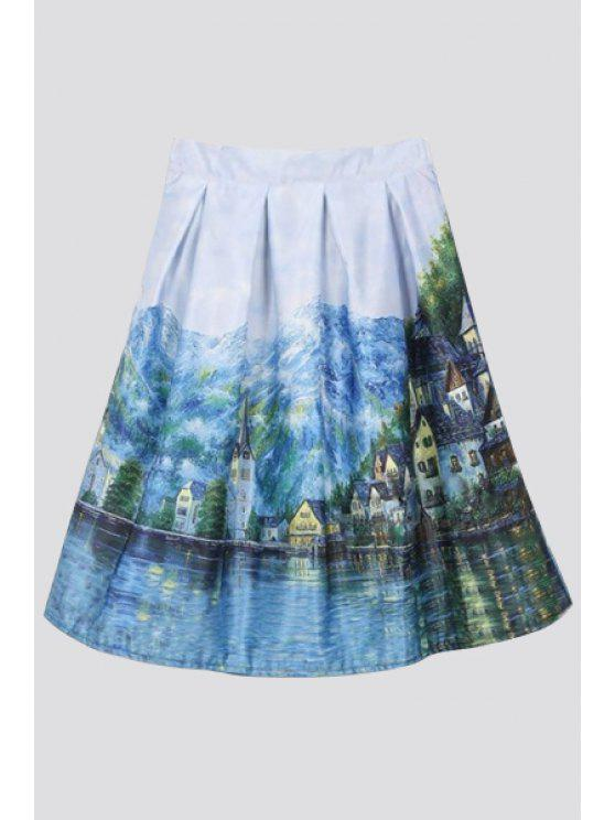 lady Scenery Print Ball Gown Skirt - BLUE ONE SIZE(FIT SIZE XS TO M)