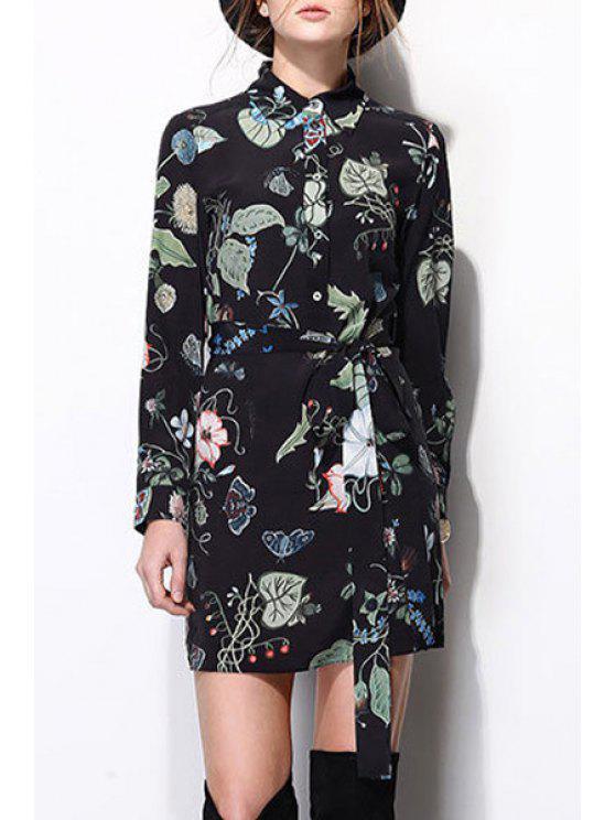 latest Floral Print Turn-Down Collar Shirt Dress - BLACK S