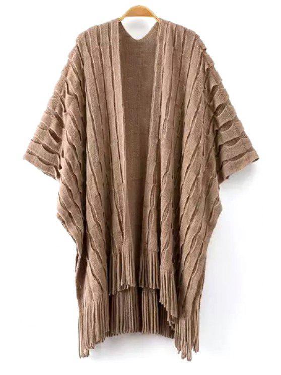 unique Tassels Half Sleeve Cardigan - KHAKI ONE SIZE(FIT SIZE XS TO M)