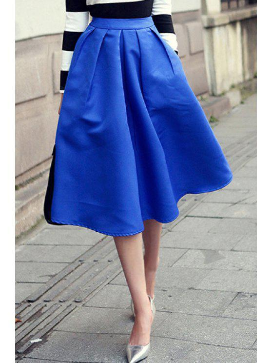 shops Solid Color Pockets Design Skirt - BLUE M