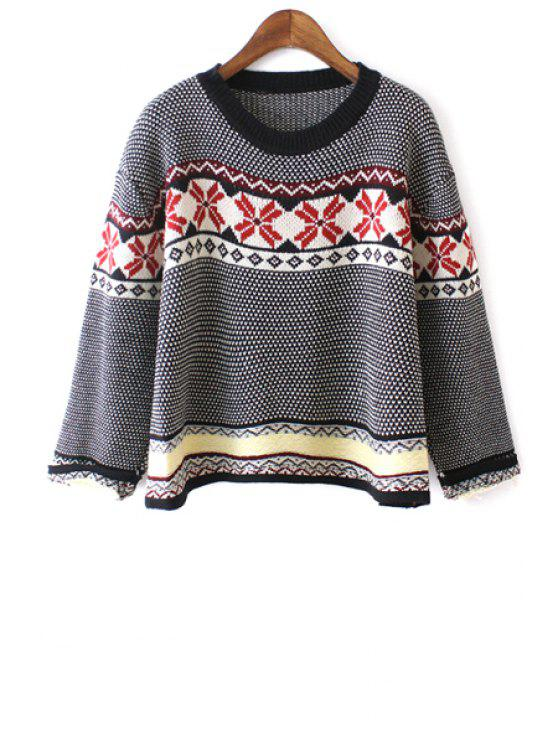 buy Ethnic Pattern Nine-Minute Sleeve Jumper - BLACK ONE SIZE(FIT SIZE XS TO M)