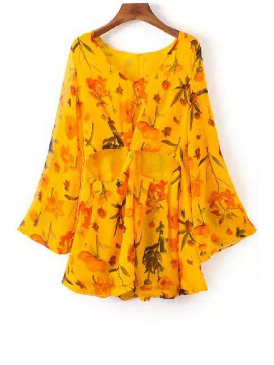 womens Cut Out V-Neck Long Sleeves Floral Print Romper - YELLOW S