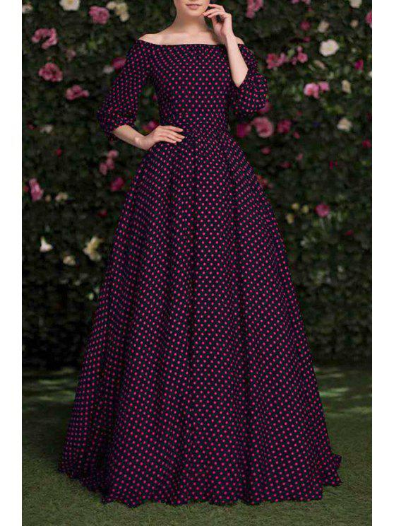 womens Slash Neck Polka Dot Maxi Dress - BLACK S