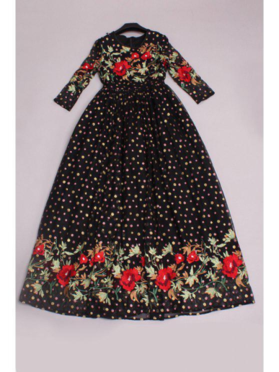 shop Polka Dot Floral Embroidered Dress - BLACK S