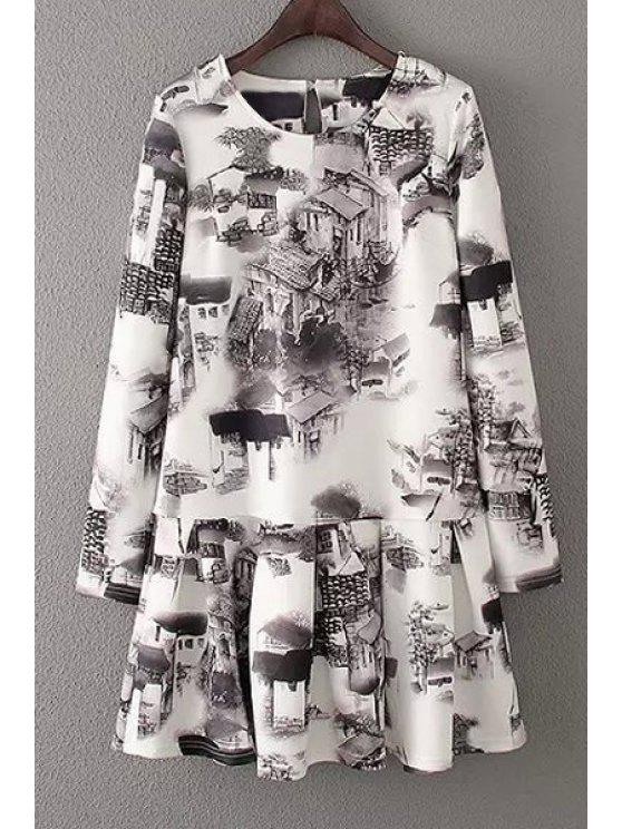 online Ink House Print Long Sleeve Dress - WHITE AND BLACK S