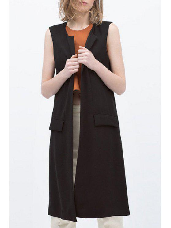 ladies Black Round Collar All Match Waistcoat - BLACK S