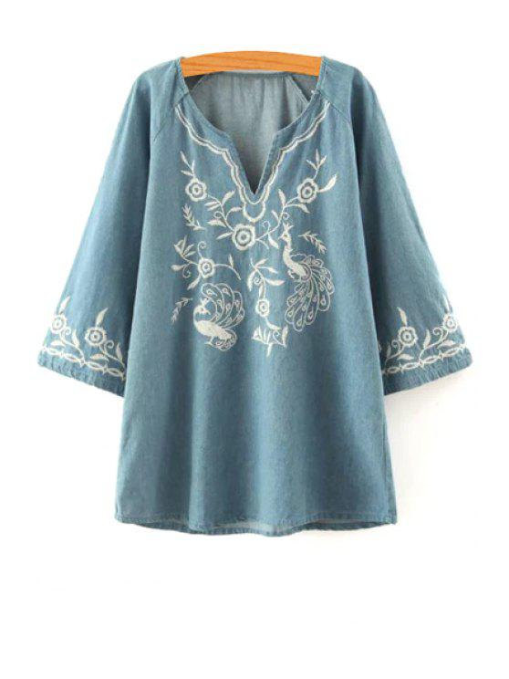 unique Floral Embroidery V Neck Long Sleeve Dress - LIGHT BLUE S