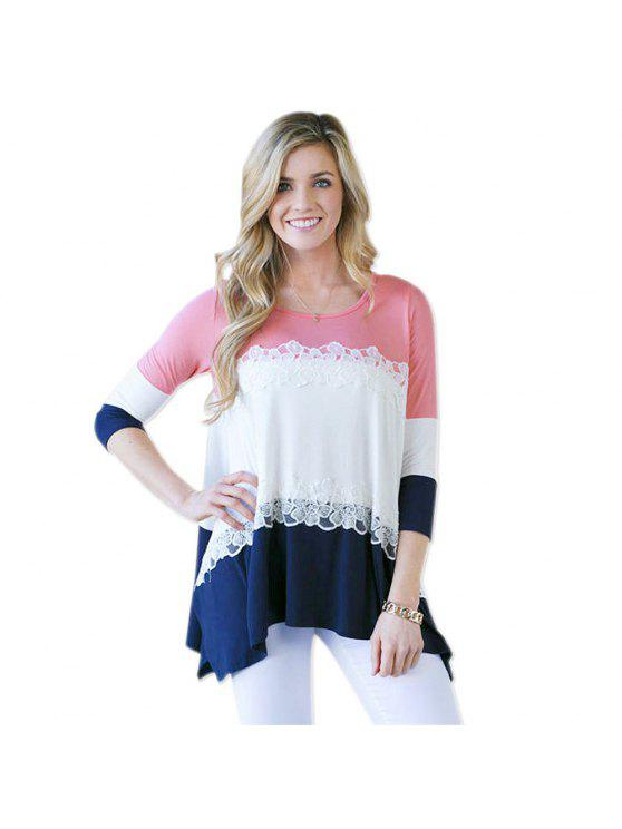 outfit 3/4 Sleeve Color Block Loose T-Shirt - PINK L