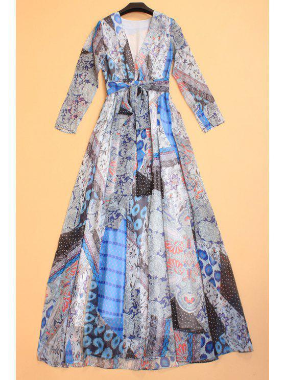 trendy Vintage Floral Print Self-Tie Belt Dress - COLORMIX S