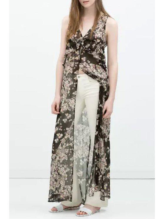 best Tiny Floral Print Sleeveless V-Neck Dress - GRAY S