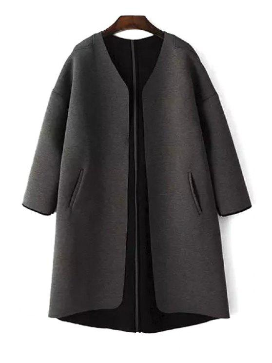 outfit Pure Color V Neck Long Sleeve Coat - BLACK S