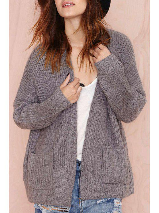 ladies Deep Gray Long Sleeves Cardigan - DEEP GRAY ONE SIZE(FIT SIZE XS TO M)