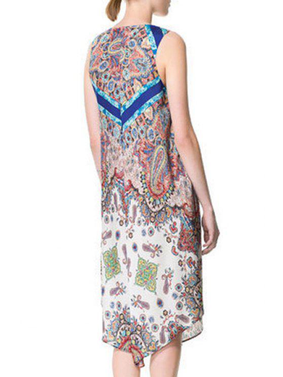 women's Printed V-Neck Sleeveless Asymmetric Dress - YELLOW S