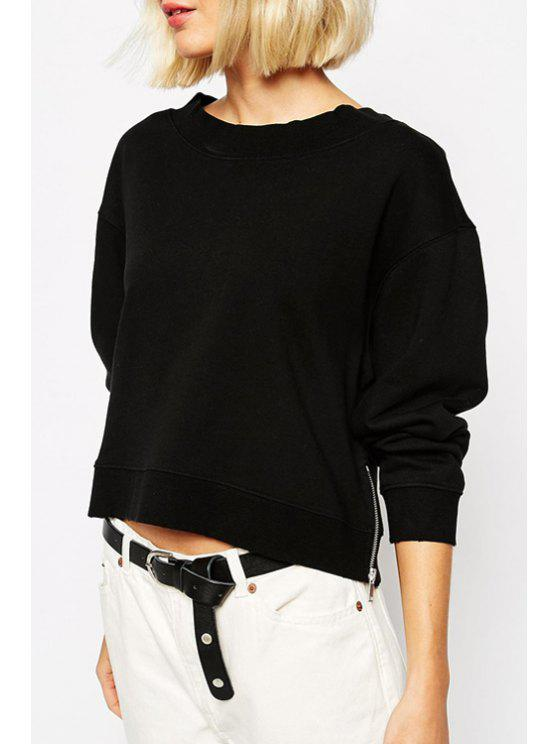 trendy Black Round Neck Long Sleeve Sweatshirt - BLACK S