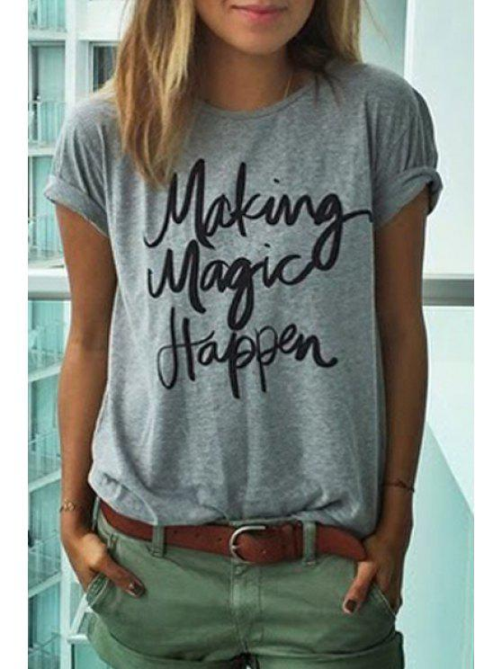 lady Short Sleeve Letters Print Round Neck T-Shirt - GRAY S