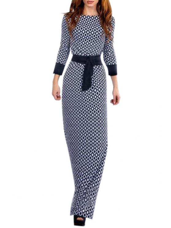 fancy Argyle Print Nine-Minute Sleeve Maxi Dress - BLUE AND WHITE S
