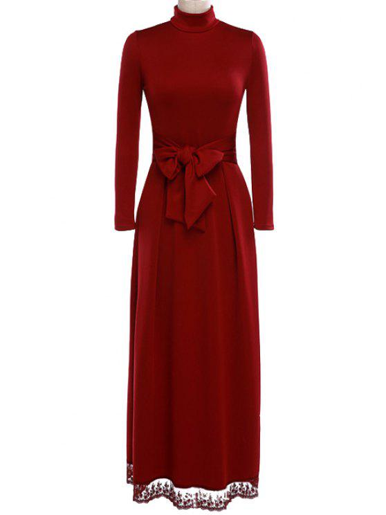 buy Red Turtle Neck Long Sleeve Maxi Dress - WINE RED S