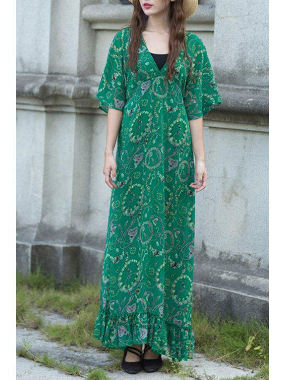 lady High-Waisted Printed Green Dress - GREEN XL