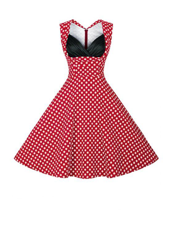 lady Polka Dot Ball Gown Vintage Dress - RED 2XL