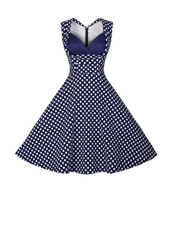 ladies Polka Dot Ball Gown Vintage Dress - PURPLISH BLUE L