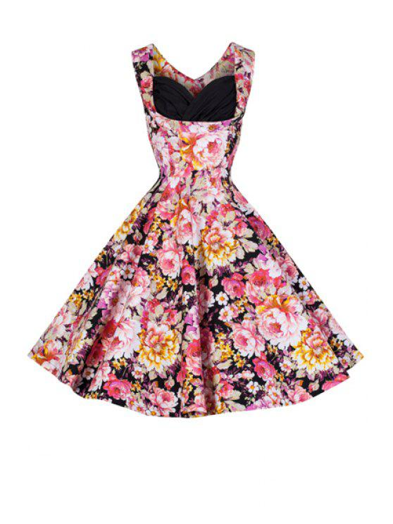 outfits Full Floral Ball Gown Vintage Dress - BLACK M