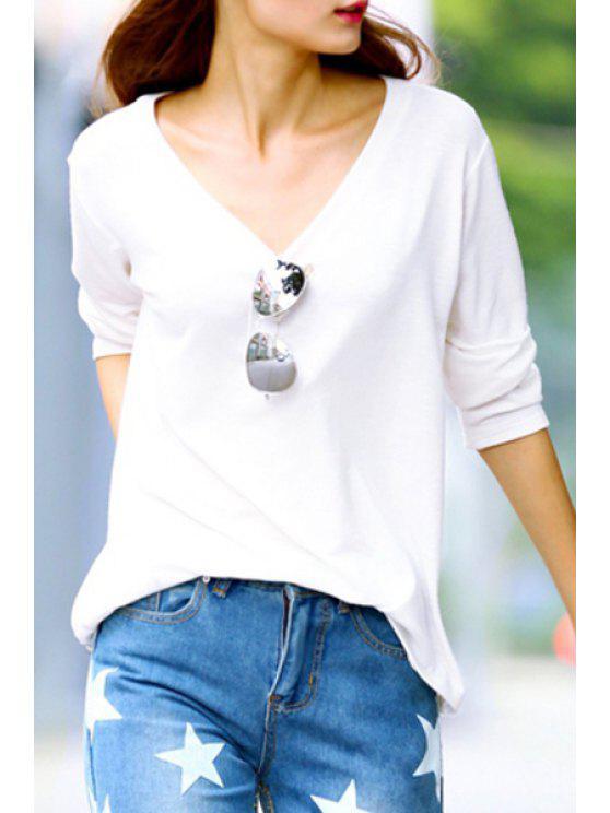chic White V Neck Long Sleeve T-Shirt - WHITE M