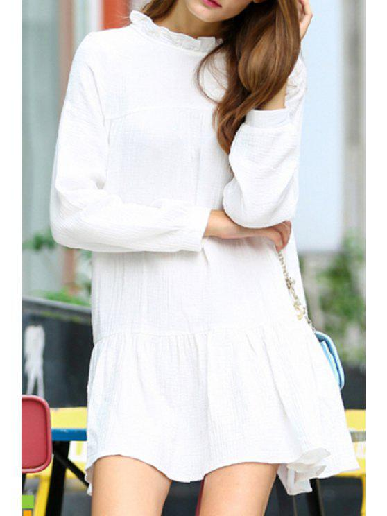buy White Stand Neck Long Sleeve Dress - WHITE S
