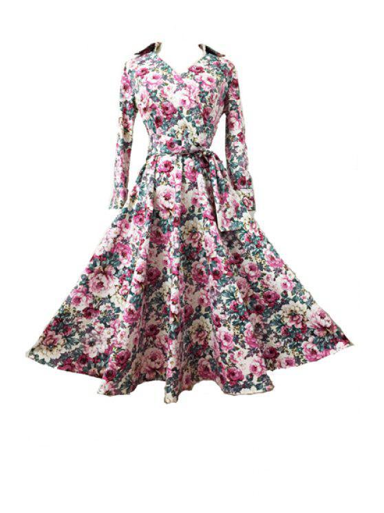 womens Long Sleeve Full Flower Print Dress - BLUE S