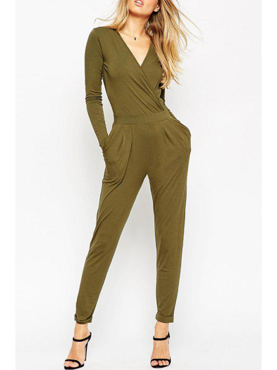 outfits Solid Color Backless V Neck Long Sleeve Jumpsuit - ARMY GREEN S